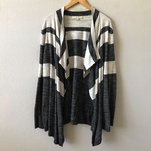 ANN TAYLOR LOFT Stripe Waterfall Cardigan XL